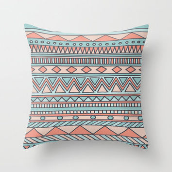 Tribal #4 (Coral/Aqua) Throw Pillow by haleyivers | Society6