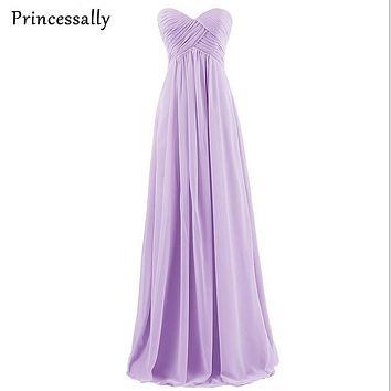 Bridesmaid Dress Long Lavender Pink Mint Royal Blue Sexy Empire Chiffon Pleat Sweetheart Cheap Prom Party Gown Vestido De Festa