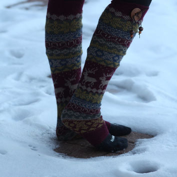 Limited Time Sale Women's Legwarmers - Boho,Christmas, snowflake, Reindeer, Boot Cover, Socks,Gift, Red Button