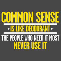 Common Sense is like Deodorant Those People who need it Most Never Use it  Hilarious Handmade to Order Tee Let Your Shirt Say it For You