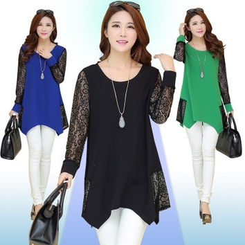 Women's Plus Size 2015 Womens Long Sleeve Casual Blouse Batwing Sleeve Lace Patchwork Loose T-Shirts Tops for women lady L-5XL = 1946203396