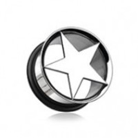 Nova Star Hollow Steel Single Flared Ear Gauge Plug