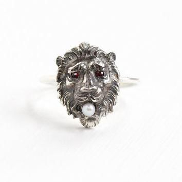 Antique Sterling Silver Lion Simulated Garnet and Seed Pearl Ring - Wild Cat Size 5 1/