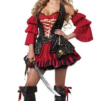 High Quality Sexy Women Pirate Costume Halloween Fancy Party Dress Carnival Perfor mance Adult Pirate Warrior Cosplay Costumes