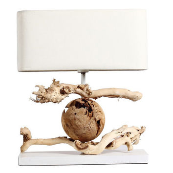 Contemporary Driftwood Chinese Table Lamp - Dragon Playing a Ball