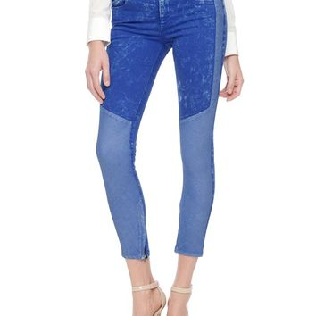 True Religion Halle Mid Rise Super Skinny Paneled Zip Crop Womens Jean - Banning St/vicente Blue