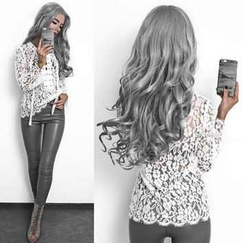 Fashion new Slim sexy perspective lace long-sleeved shirt straps