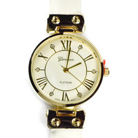 Inset Crystal Roman Numeral Watch - Off White