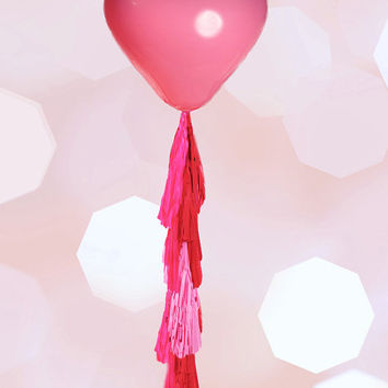 "Giant Heart Balloon with Tassel Geronimo Heart Balloon Custom Colors 36"" Balloon with 5 Foot Fringe Wedding 