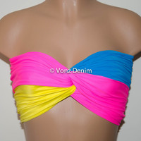 Pink, Turquoise & Yellow Twisted Bandeau, Swimwear Bikini Top, Twisted Top Bathing Suits, Spandex Bandeau Bikini