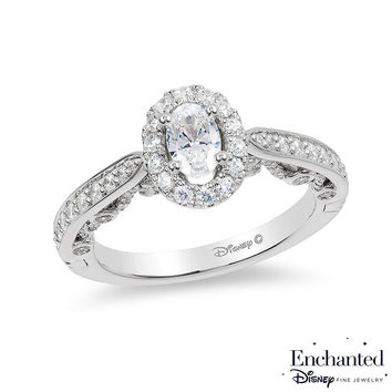 Enchanted Disney Ariel 1 CT. T.W. Oval Diamond Frame Engagement Ring in 14K White Gold|Zales
