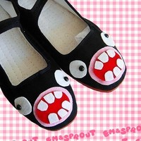Monster Shoes  Googly Eyed Black Flat Mary Janes  by emandsprout