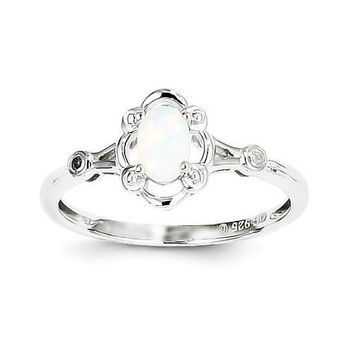 Sterling Silver Created Opal & Diamond Ring
