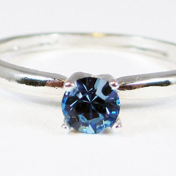 Aquamarine Swarovski Crystal Solitaire Ring Sterling Silver, Swarovski Crystal Ring, Blue Crystal Ring, Solitaire Ring, 925 Sterling Ring