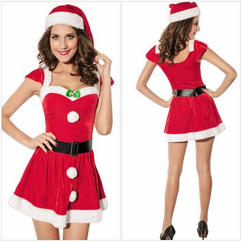 Adult Women Christmas Red Santa Claus Velvet Costume Outfit Fancy Dress Fur Hat