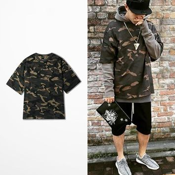 Army Seven Sleeve Camo T-shirt Men Hip Hop Kanye West Coconut Camouflage T Shirts Harajuku Streetwear Dark Souls Shirt Top Tee