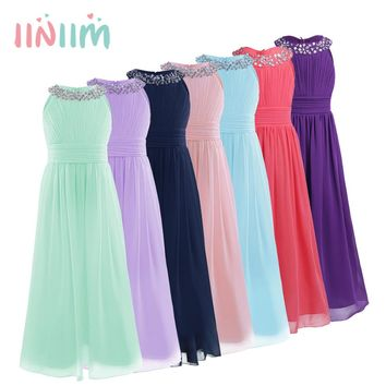 Elegant Girls Chiffon Sleeveless Flower Girl Dress Princess Pageant Wedding Bridesmaid Children's Birthday Party Dress for 4-14Y