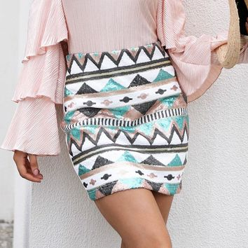 Aztec Print Sequin Pencil Skirt
