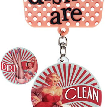 Hanging Clean Dirty Dishwasher Magnet By De Dazzle For Metallic and Non-Metallic Dishwashers. Default Retro Design Along With 2 Additional Clean Dirty Designs and 2 DIY Stickers.
