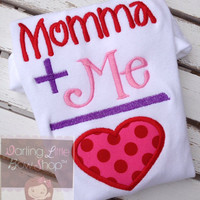Valentine Bodysuit or shirt for girls - Momma's Girl - pink and red applique sizes Newborn through 12