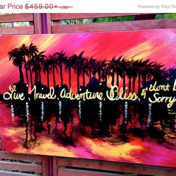 On Sale Jack Kerouac Quote Painting / Original Acrylic Beach at Sunset Painting