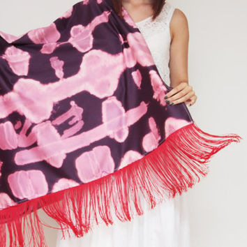 AMELIA / Fringed shibori dyed satin oversized fall scarf - Ready to Ship