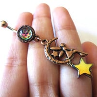Copper Fairy Crescent Moon Star Faerie Charm Dichroic Glass Rainbow Bubble Belly Button Ring Dangle Jewelry Navel Piercing Bellyring Bar