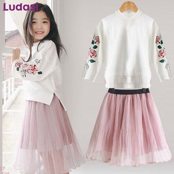 Girls Clothes For Teenage Girls Of 4 5 6 8 10 12 Years Old Teen Clothing Set Cotton Embroidery Sweatshirt+Mesh Skirt Kids' Suits