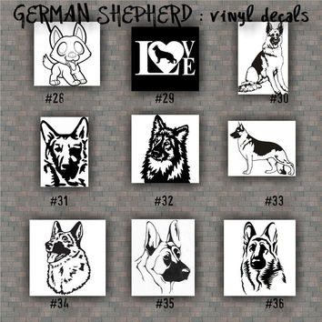 GERMAN SHEPHERD vinyl decals - 28-36 - vinyl sticker - car window stickers - working dog - pets - dog decal