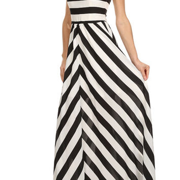 Astor Striped Strapless Maxi Dress - Black + White