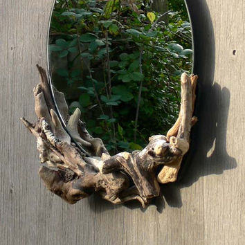 Upcycled Recycled Repurposed Driftwood Mirror Powder Room or Bathroom or Entry