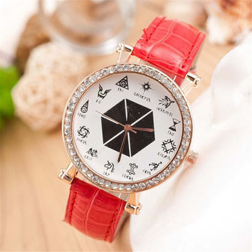 Womens Unique Constellation Leather Strap Watch with Diamond Best Christmas Gift  Watch-426