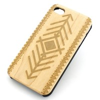 W112 Wood Case for APPLE IPHONE 4/4S, 5/5S, 5C Cover - TRIBAL ARROW