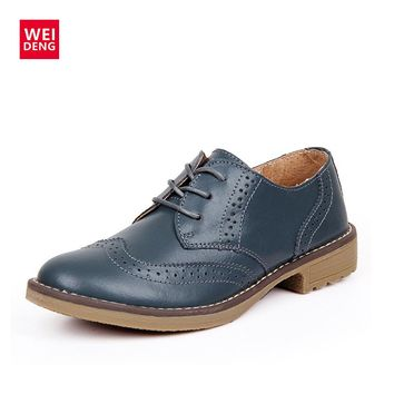 WeiDeng Genuine Leather Women Brogue Lace Up Vintage Shoes Classic Flat Low Heels Oxfords Boots Schoenen Vrouw Handmade