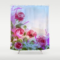 joyful flowers Shower Curtain by Clemm