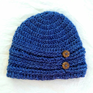 Soft Handmade Beanie with Braided Textured Stitches and Two Coconut Buttons, Crochet Slouch Hat, Blue, Women's fashion, Teen, Hair Accessory