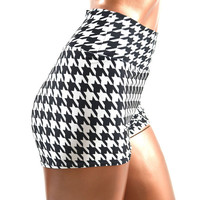 Black & White Houndstooth Print High Waist Lycra Spandex Pinup Shorts  -E7651
