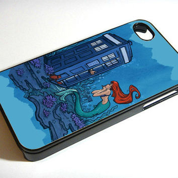 Disney Tardis and Ariel Little Mermaid - Print on iPhone 4/4s Case - iPhone 5 Case - Samsung Galaxy S3 - Samsung Galaxy S4