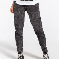 Almost Famous Crave Fame Acid Womens Knit Denim Jogger Pants Black  In Sizes