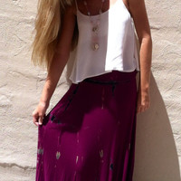 Dripping Wine Long Maxi Skirt