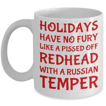 Holiday Christmas Mug Gift For Redhead Russian Girls - Xmas Inspiration Gift For Her, Mom, Grandma, Sister, Girlfriend - 11oz White Ceramic Cup for Cocoa, Coffee, Tea, Cookies & Ginger Bread