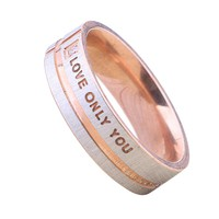 Stainless Steel Crystal LOVE ONLY YOU Zircon Couple Promise Ring