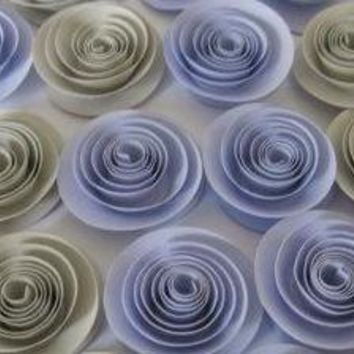 "Lilac and Grey Baby Shower Decorations, 1.5"" paper flowers, set of 12 small quilled roses, light purple elephant gray"