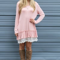 Ruffle Me Up Dusty Pink Lace Ruffle Dress