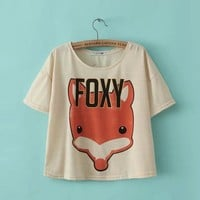 New Fashion Women Elegant fox rabbig print short T shirt basic O neck short sleeve shirt casual brand tops
