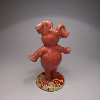 Pink elephant with crackle glaze (READY TO SHIP)