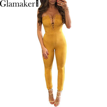Glamaker 2017 Suede off shoulder lace up elegant jumpsuit romper Spring sexy party jumpsuit women Bodycon club outfits