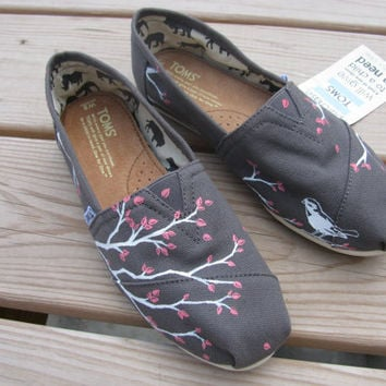 Custom TOMS  Handpainted Design on Shoes Shoes by mckenziegrimm