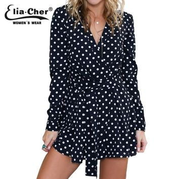 Full Sleeve Jumpsuits Women Rompers Elia Cher Brand 2017  Plus Size Casual Women Clothing Chic Fashion Dot Print Rompers 6703