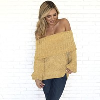 Love Me Tender Soft Off Shoulder Sweater in Mustard